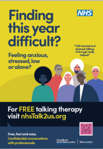 Reach out for free talking therapy NHS poster